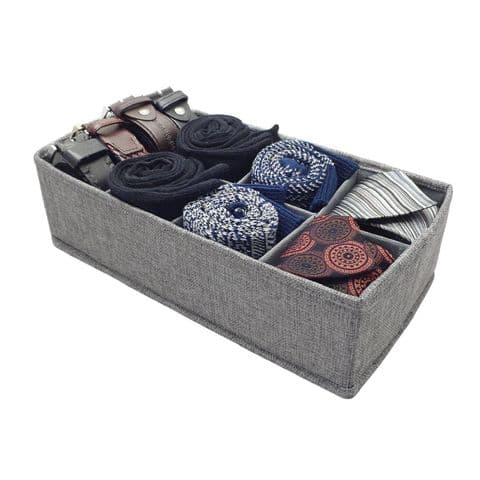 Grey 36cm Sock Tie & Belt Drawer Dividers Organiser