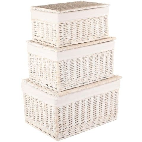 New England 3 Nesting Lined White Wash Bedroom Clothes Storage Baskets with Lids