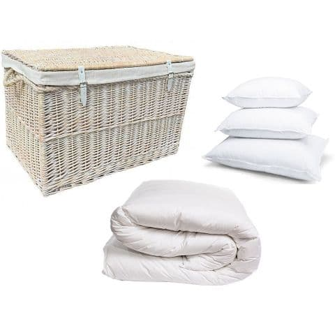 New England Lined White 75cm Wicker Bedroom Storage Trunk