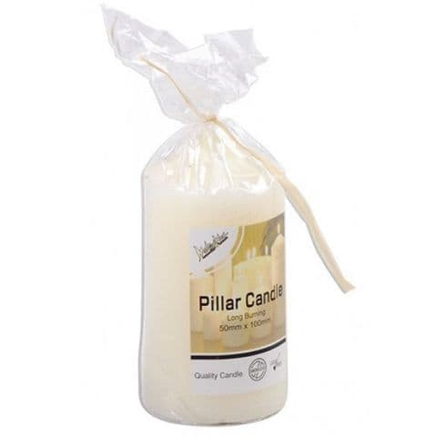 Small Gift Wrapped Ivory Pillar Candle H10 x W5cm