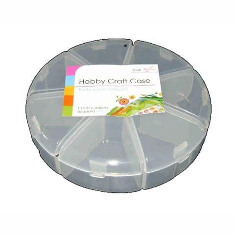 Small Round 7 Compartment Clear Hobby & Craft Storage
