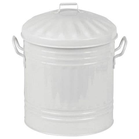 White 5L Retro Ribbed Metal Bathroom Sink Bin