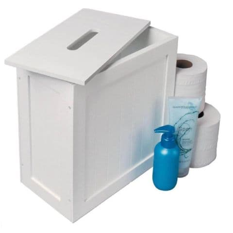 White Wooden Bathroom Toilet Loo Roll & Cleaning Storage Box