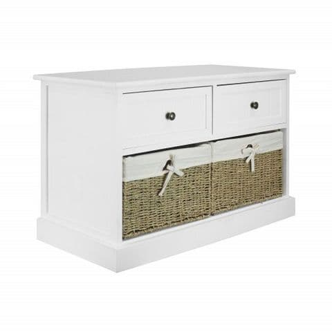White Wooden Hallway Shoe Storage Bench Seat