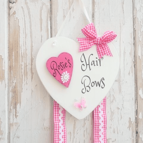 Girls Personalised Bow Holder Heart
