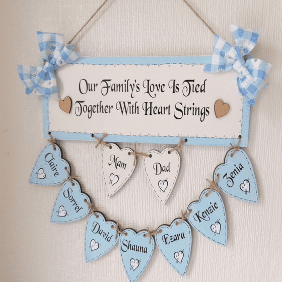 Personalised Hand Made Family Tree With NINE Wooden  Hearts