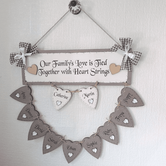 Personalised Hand Made Family Tree With TEN Wooden  Hearts