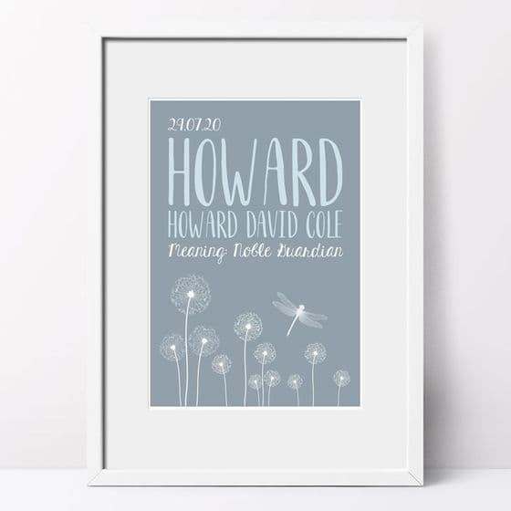 Personalised Name Meaning DANDELION Print