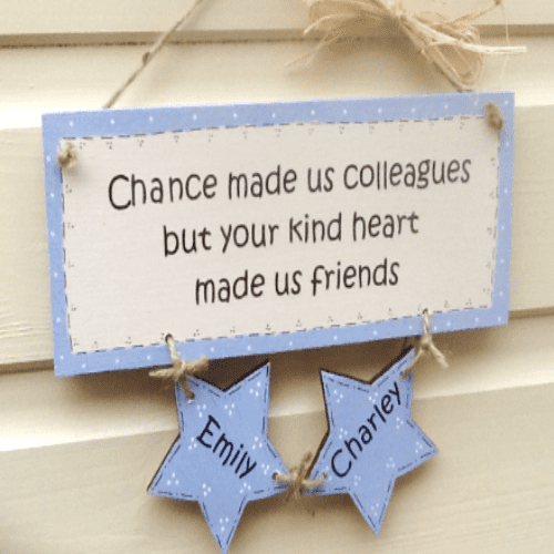Personalised wall hanging with hanging stars