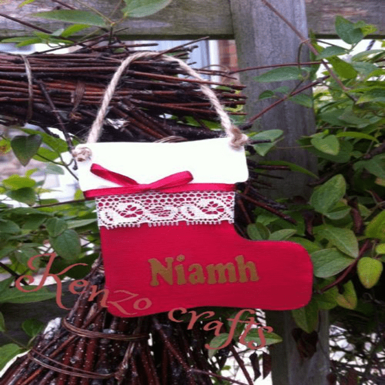 Personalised Wooden Christmas Stocking Tree Decoration
