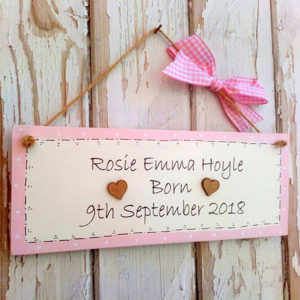 Wooden Personalised New Baby Plaque