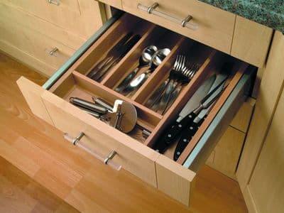Blum Tandem cutlery insert, 800mm unit, beech veneer