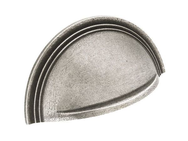 Cup handle with stepped detail, 64mm, solid pewter  - H169