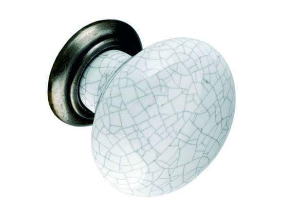 Knob, 35mm, antiqued pewter and grey crackled effect - Porcelain Handles