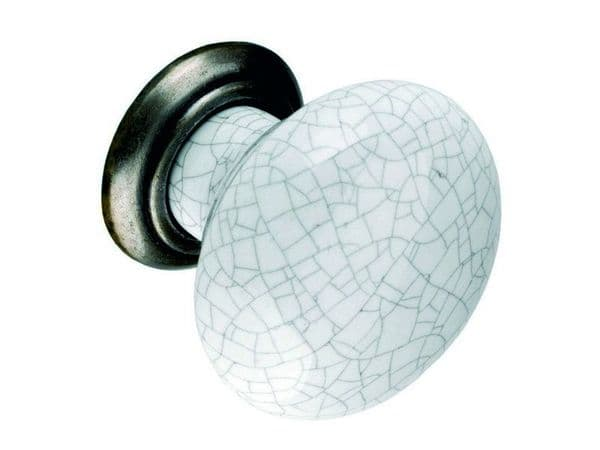 Knob, 35mm, antiqued pewter and grey crackled effect  - H152