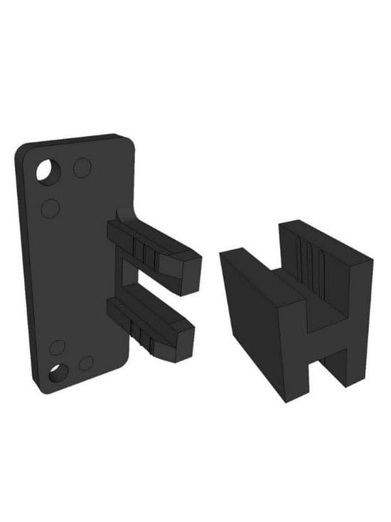 Securing brackets for top and mid supports, black plastic, pk 25 pair -  Handleless Rail Profiles