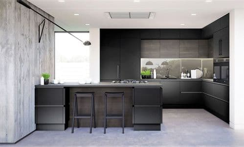 True Handleless Matt Graphite Kitchens