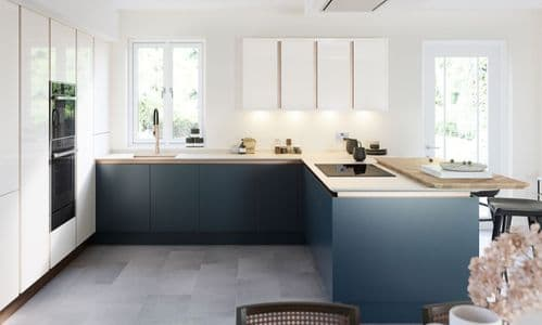 True Handleless Matt Hartforth Blue Kitchens