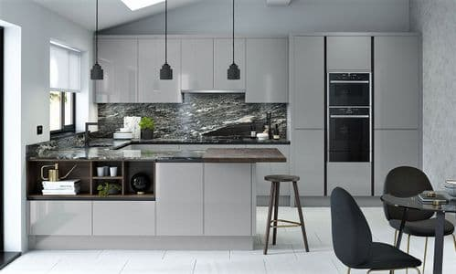 True Handleless Matt Silver Grey Kitchens