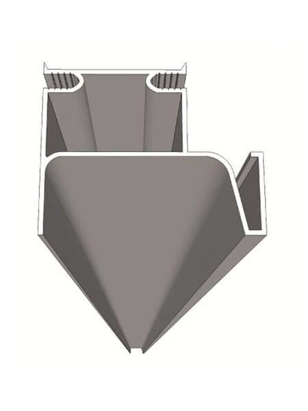 Vertical aluminium profile (lateral), 4200x53.3x41mm, trim to size