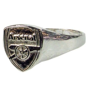 Arsenal Silver Plated Crest Ring - Large