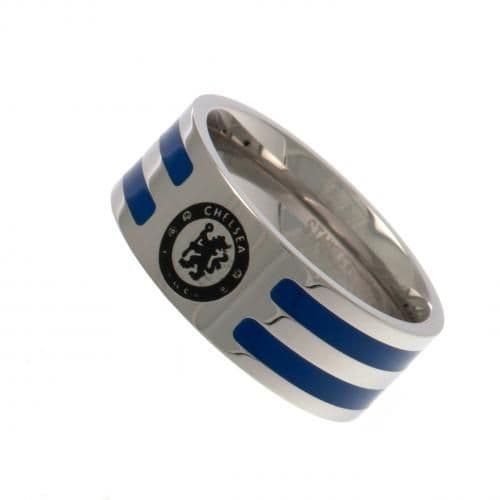 Chelsea FC Ring with Colour Stripe (Small) | CFC Merchandise [ Football Gifts Shop ]
