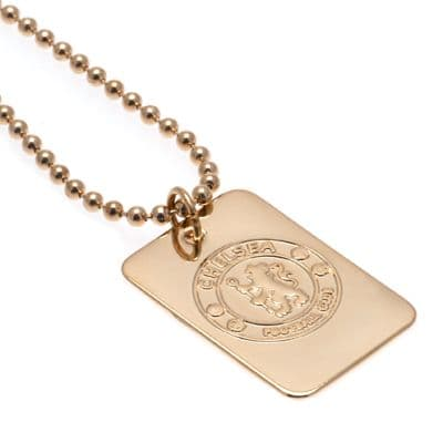 Chelsea FC Gold Plated Dog Tag & Chain | Football Gifts Online