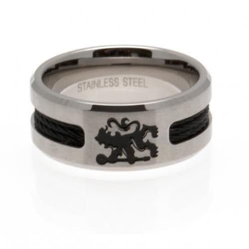 Chelsea Ring with Black Inlay (L) | CFC Merchandise [ Football Gifts Shop ]
