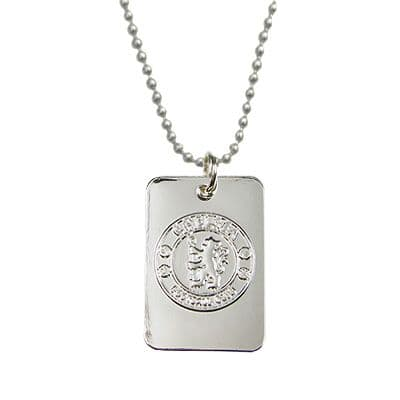 Chelsea FC Silver Plated Dog Tag & Chain |  CFC Football Gifts