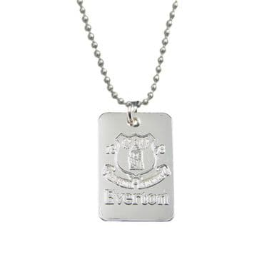 Everton Silver Plated Dog Tag & Chain