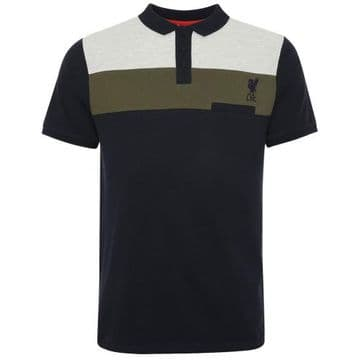 Liverpool FC Colour Block Navy Polo Shirt - Large