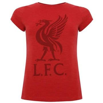 Liverpool FC Ladies Red Liverbird T-Shirt - Size 8