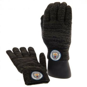 Manchester City Luxury Touchscreen Knitted Gloves (Youths)
