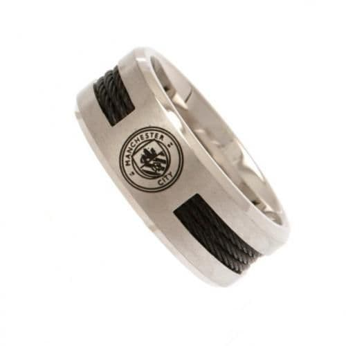 Manchester City Black Inlay Ring (S) | MCFC Merchandise [ Football Gifts Shop ]