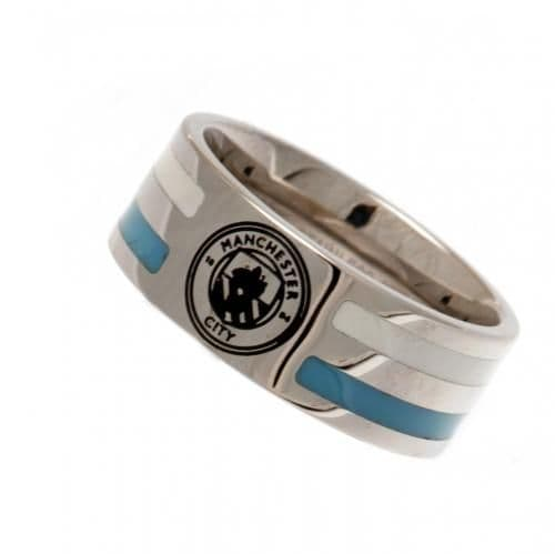 Manchester City Colour Stripe Ring Small | MCFC Merchandise | Football Gifts Shop