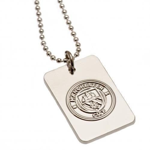 Manchester City Silver Plated Dog Tag | Man City Gifts