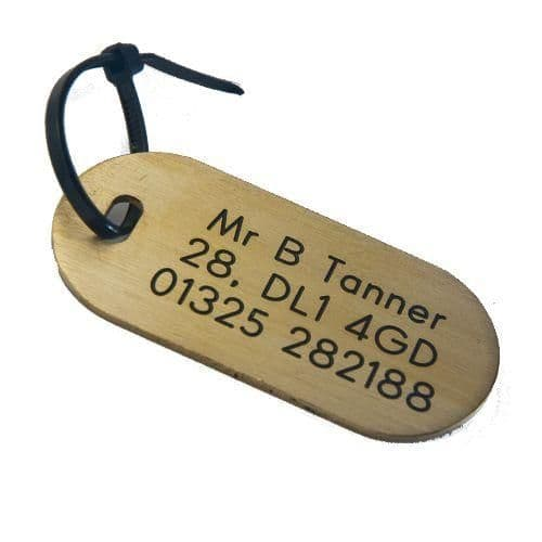 Brass Luggage tag 60 x 28mm