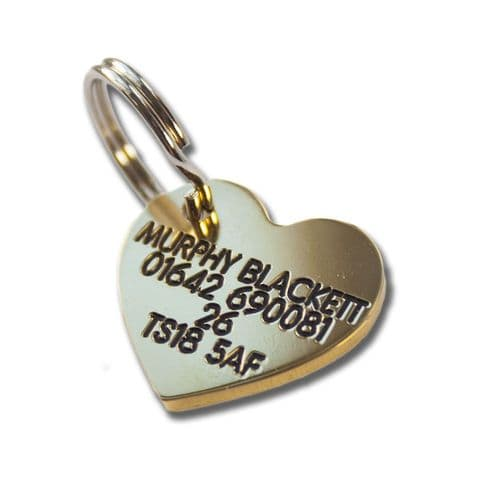Heart Engraved Brass ID tag -  22mm x 20mm