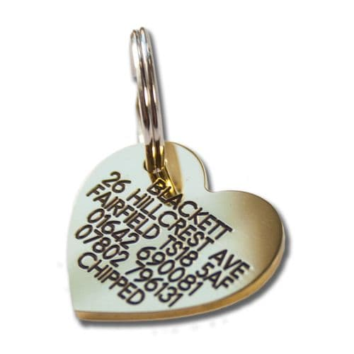 Heart  Engraved Brass ID tag - 30mm x 27mm