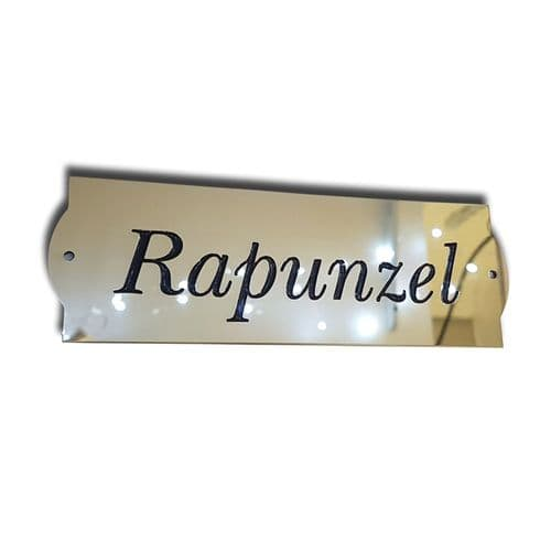 Mirror Polished Brass Stable Names Plates various sizes Curved Ends