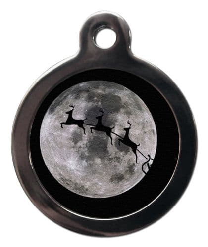 Pet ID Tag  Christmas FLYING REINDEER