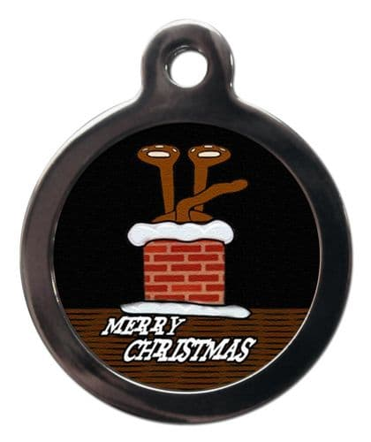 Pet ID Tag  Christmas MERRY CHRISTMAS Chimney