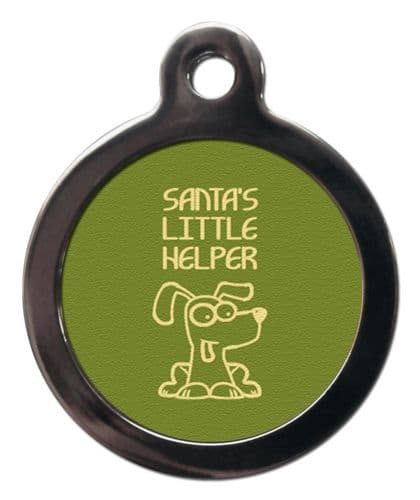 Pet ID Tag  Christmas SANTAS LITTLE HELPER GREEN