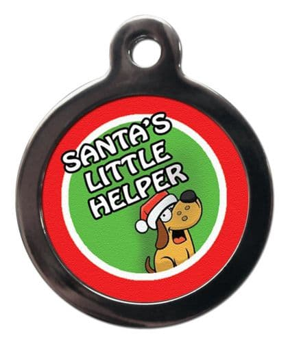 Pet ID Tag  Christmas SANTAS LITTLE HELPER