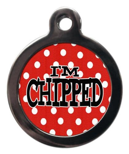 Pet ID tag  design RED WITH WHITE DOTS I'M CHIPPED (1)