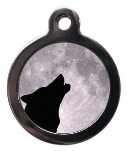 Pet ID Tag  HOWLING WOLF & MOON