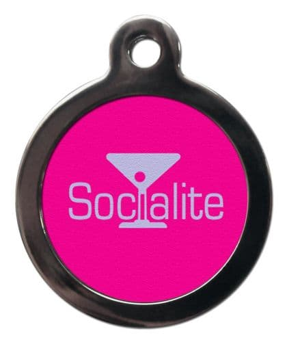 Pet ID Tag in Pink Socialite