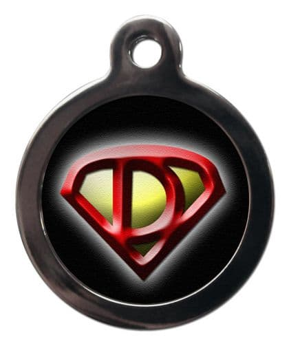 Pet ID Tag Super Dog chest logo  Personalised tag