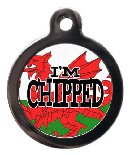 Pet ID tag WALES DRAGON Flag Picture design IM CHIPPED