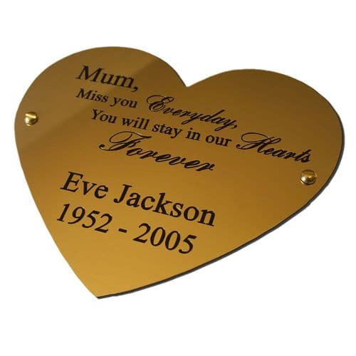 Solid Brass Heart plaque 6